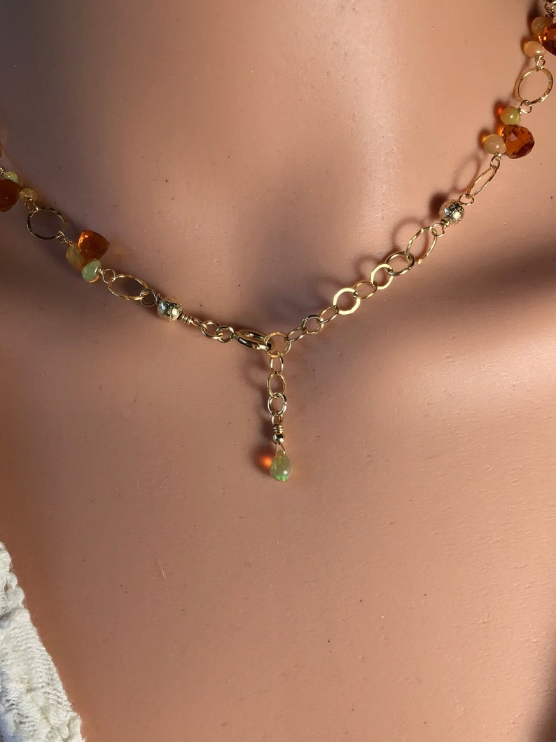 Rosary necklace of teardrop opals and citrine trillion stones. Opal and citrine briolette choker