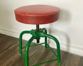 Vintage Koken Barbers Stool - 1950s - Industrial Stool, Adjustable Stool, Workbench, Architectural, Seating, Office, Man Cave, Studio Chair