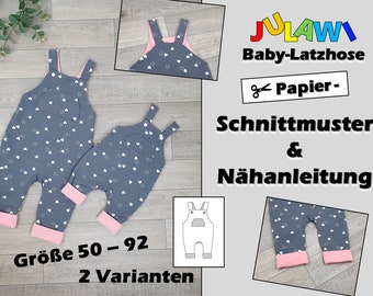 Paper cut pattern Baby dungarees size 50-92 | Sewing pattern sheet & bound sewing guide | Cute baby pants with chest pocket | 8 single sizes