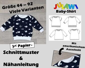 Paper Cut Pattern Baby Shirt Size 44-92   Sewing pattern sheet & bound sewing guide   American cutout   9 single sizes