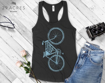 Indigo or White Yoga Tee Shirts with Sayings Womens Graphic Racerback Tank Top I Want To Ride My Bicycle//Bike//Queen Gift for Her
