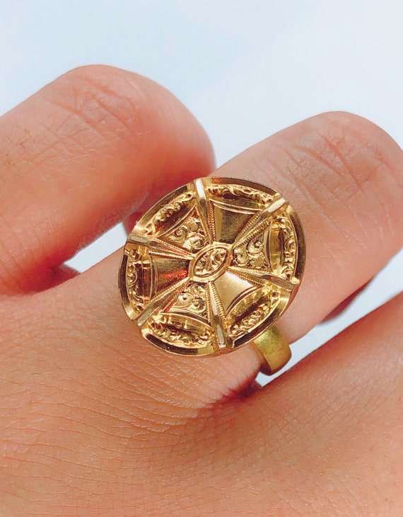 Antique Victorian Gold Mourning Conversion Ring |