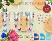 32oz Acrylic Skinny Mega Tumbler Full Wrap Multi colored butterflies svg Starbucks Tumbler 32oz Files for Cricut Instant Download svg-eps