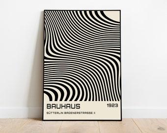 bauhaus exhibition poster, linear design, modern home decoration, contemporary designs, black art decor