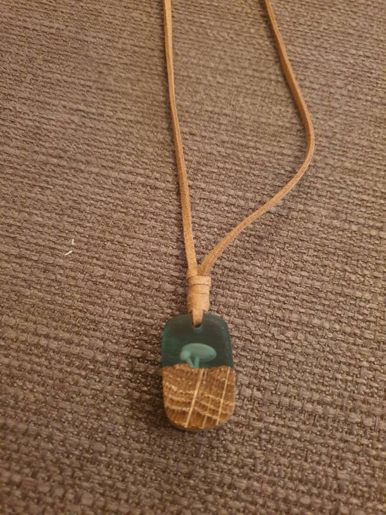 Made in the UK Handmade Eco Friendly Woodland Theme Resin and Oak Pendant Mothers Day Gift