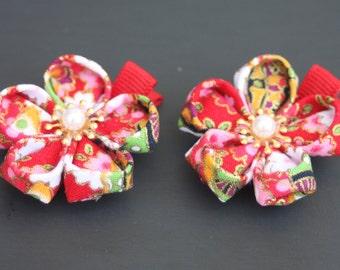 Kanzashi cherry blossom flower hair clip / Sakura Hair flower clip