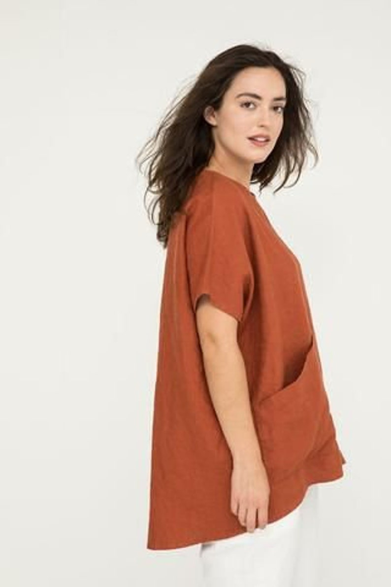 cotton top woman top casual wear oversize top ARLEY cotton crop top casual outfit woman blouse rust color shirt hand made cotton top