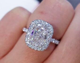 2 Ct Eloganted Cushion Cut Moissanite Engagement Ring, Radiant Cushion Cut Ring, Anniversary Ring Gift, Wedding Gift, Ring for Women