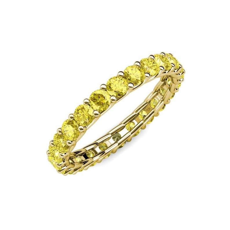 14k gold eternity band 2mm Yellow Simulated Diamond Full Eternity Band Stackable Rings Gemstone Band Birthstone Jewelry Wedding Band