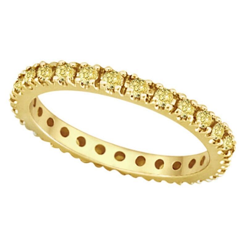 Birthstone Jewelry Stacking Band 2mm 4 Prong Setting Band eternity band 1.20 CT Yellow Simulated Diamond Anniversary Gift,Wedding Band