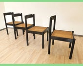 1 of 4 Retro Dining Wicker Chair Black Scandinavian Style Vintage Chairs Made in Yugoslavia Mesh seating Black wooden Minimalistic