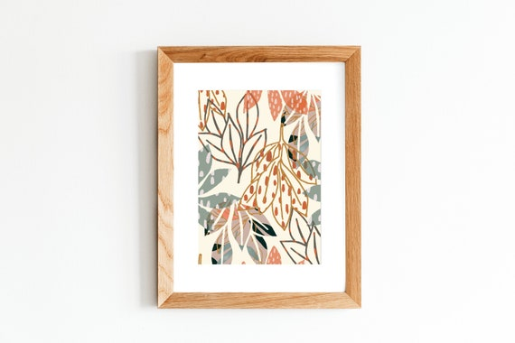 A3, A4, A5 digital print. Dropping leaves - cream. Botanical jungle illustration. Wall art.
