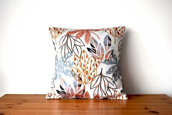 "Handmade printed cushions, envelope cushion covers, home decor, decorative pillows, 16""x16"" 40cmx40xm, botanical print"