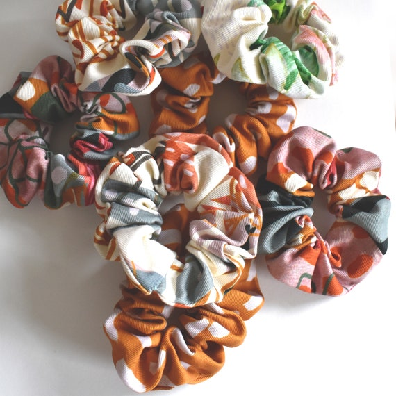Patterned Scrunchies. 100% cotton. Colourful hair accessories.