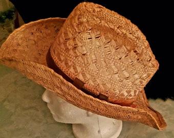 Leather Handcrafted Vintage Hat Boho Gambler Western Tooled Brim Crown Brown Tan UNISEX Size ML
