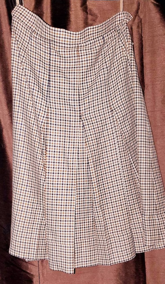 1960s Vintage Houndstooth Tweed Virgin Wool Kilt S
