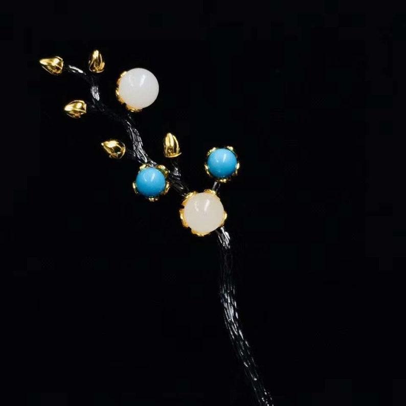 silver hairpin Ancient hairpin Hetian jade hairpin gold-plated hairpin Chinese hairpin gem hairpin,