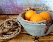 Handmade,large deep concrete bowl with rope and piece of driftwood.Planter,fruit,veg holder,unique piece,display,gift,mother,granny,pot,vase