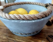 Handmade,large deep concrete bowl with rope,2 stones.Planter,fruit,veg holder,unique,piece,display vase,pot for rooms,gift 4 mother,granny,
