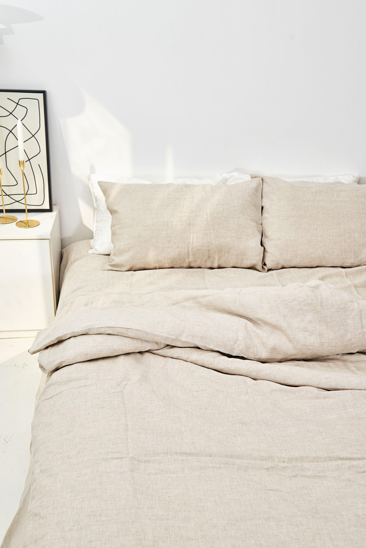 Linen Sheet Set in Oatmeal brown. Fitted Sheet, Flat Sheet + 2 Pillow Cases. 100% European Flax. Made in Spain.