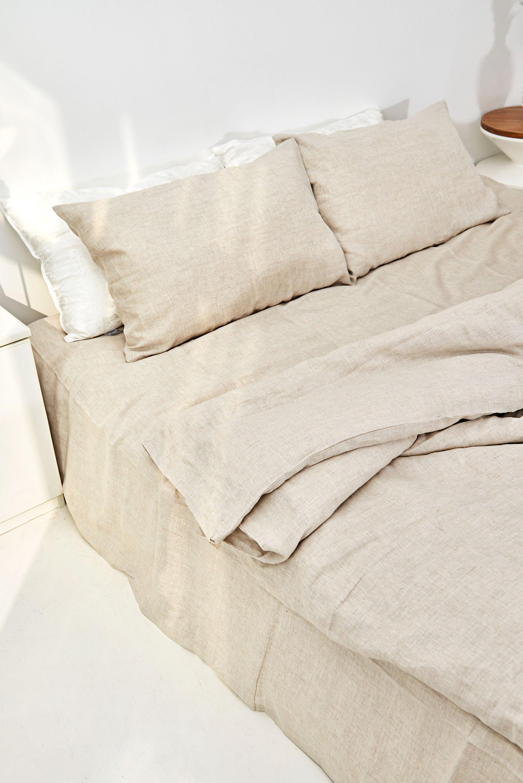 Couverture de couette de lin dans le brun d'avoine. 100% lin européen. Queen, King, Full, Twin, Tailles personnalisées disponibles. Fabriqué en Espagne.
