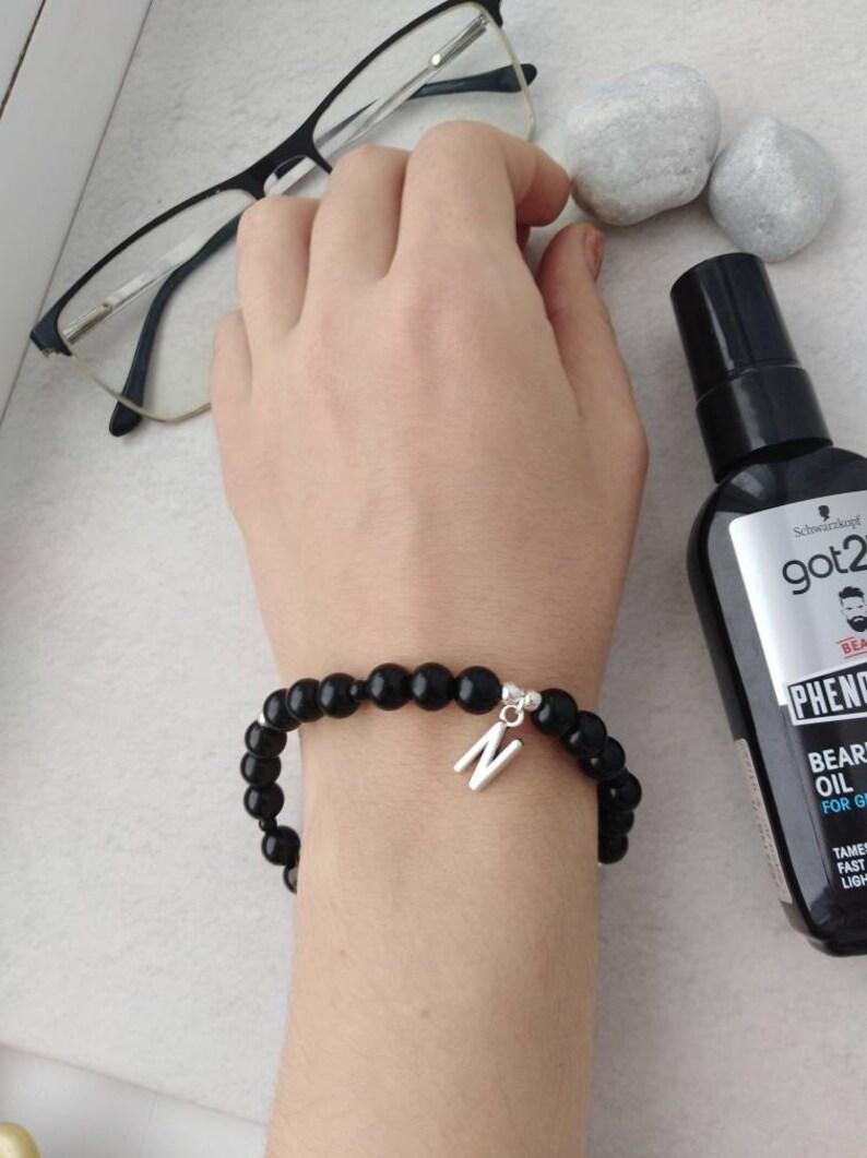 Personalized Name beaded bracelet for men Black agate bracelet Initial bracelet men