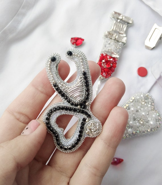 Personalized gift for women Valentine heart beaded brooch