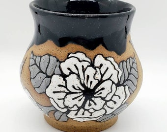 Handmade flower cup, hand painted stoneware wine cup, floral whiskey cup