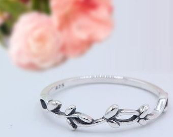 4.5mm Vine Simple Plain Leaves Ring Band Thumb Ring Solid 925 Sterling Silver Oxidized Leaf Vine, silver leaf design band ring for women