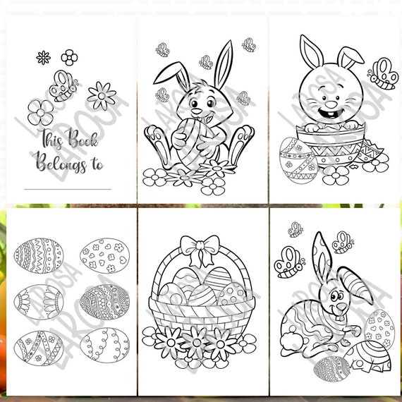Cute set of 5 Easter Colouring Pages / Digital Download PDF