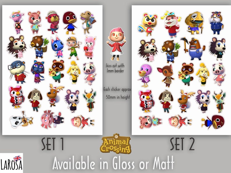 matt or transparent Animal Crossing Stickers stickers in gloss