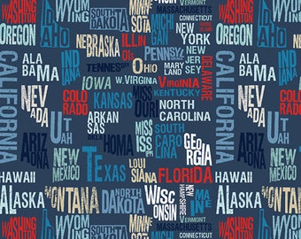Across the USA by Whistler Studios - States in Navy
