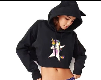 Womens Girls Cat Unicorn Pullover Hoodie Pit Bull Mom Cropped Sweatshirts
