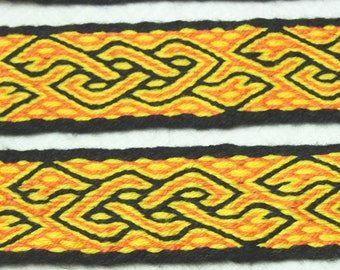 Hand-woven Band 2,53 m CATS BATS  Braid  trim  Hand Made  Tablet Card Weaving Viking Saxon Reenactment  Early Medieval  Wool  LARP
