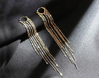 NEW!Long Chain Earrings,Chain Tassel Earrings,Gold Dangle Earrings,Formal Earrings,Long Tassel Earrings,Chain Fringe,Delicate Earrings#WX056