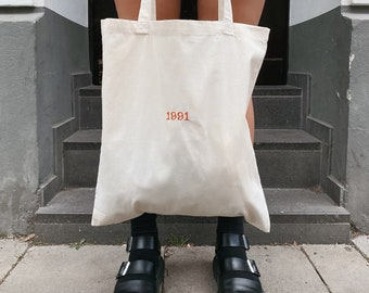 Personalized jute bag, 100% cotton bag, embroidered, minimalist, totebag, cloth bag