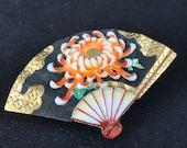Vintage Toshikane Japanese porcelain fan brooch, Chrysanthemum flower in orange with gold details, large size, Arita porcelain, 1940s-50s