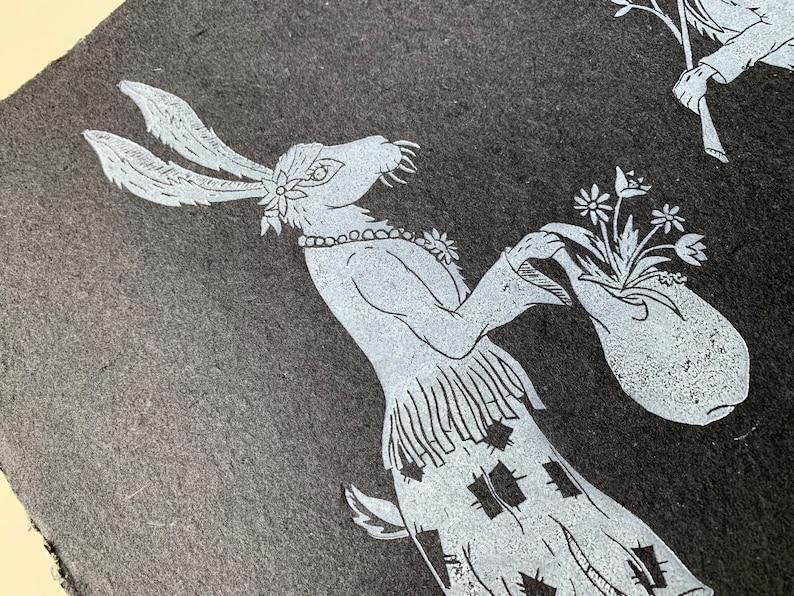 Hobo Bun Couple original linocut print