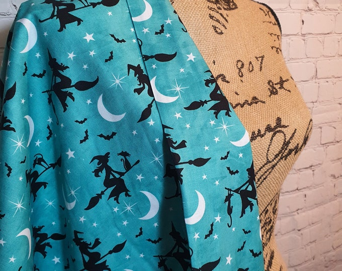 Featured listing image: Teal Bewitched, Flying Witches, Black Cats, Halloween Print, 100% Woven Cotton Fabric