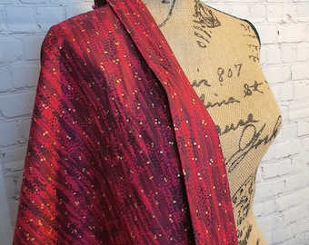 Cherry Dewdrop with Gold Metallic Accents, 100% Woven Cotton Fabric