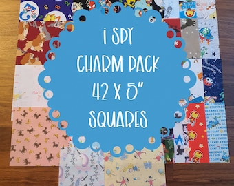 """I Spy Charm Pack - 42 x 5"""" Squares, Novelty and Licensed Prints, with No Pattern Repeats, All 100% Cotton, Quilt Kit"""