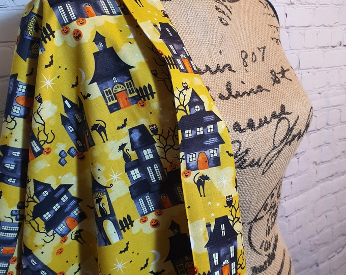Featured listing image: Gold Midnight Manor, Halloween Print, 100% Woven Cotton Fabric