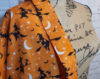 Orange Bewitched, Flying Witches, Black Cats, Halloween Print, 100% Woven Cotton Fabric