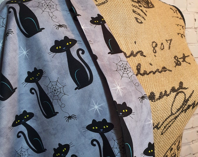 Featured listing image: Grey Cat Charms, Black Cats, Halloween Print, 100% Woven Cotton Fabric