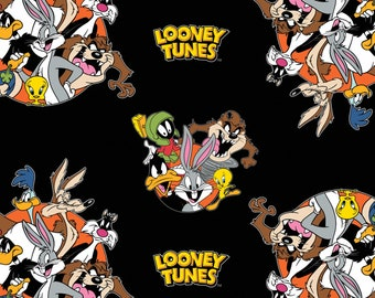 Looney Tunes That's All Folks, From Camelot Fabrics, 23600101-2, 100% Cotton, Fabric, Bugs Bunny, Daffy Duck, Tweety, Marvin, Taz