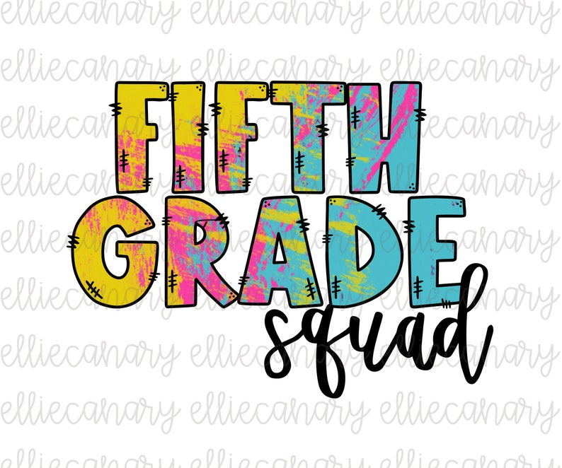 Sublimation Design Back to School Fifth Grade Squad PNG Teacher Team Open House Elementary School Digital Download