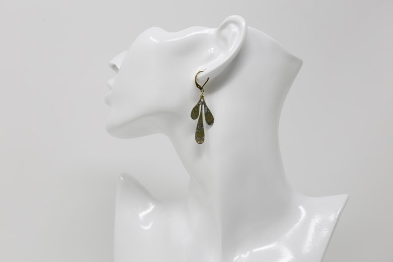 Brass Leaf Earrings Patina Botanical Jewellery Leaf Droplets Green /& Blue from Scotland Patina Leaf Earrings Unique Gift Gold
