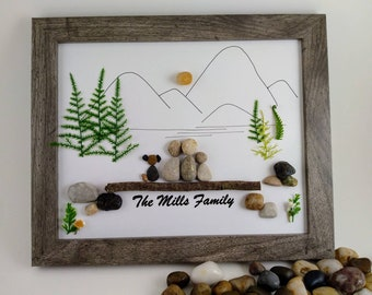 Family pebble art, big family wall art, personalized gift, camping life, hiking, hike, camp decor,