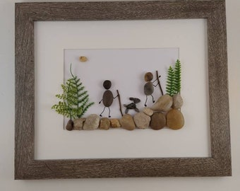 Hike with dogs pebble art, hike art, framed picture hiking, hiking family, hiking gift, personalized gift, pebble art family with dog
