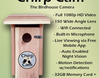 Chirp Cam™ - The Birdhouse Spy Camera - HD Video, Night Vision, Motion Detection
